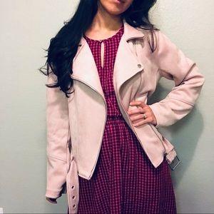 Moto jacket suede like large pink blush